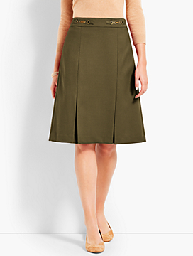 Refined Cavalry Twill Pleated Skirt