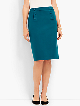 Sailor-Button Ponte Pencil Skirt