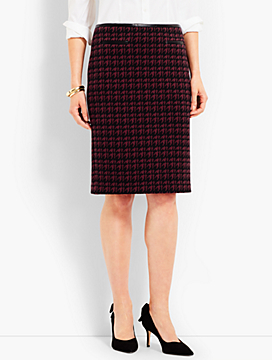 Houndstooth Knit Pencil Skirt