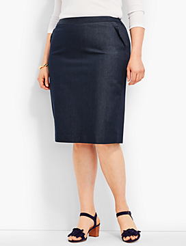 Ruffle-Pocket Denim Pencil Skirt