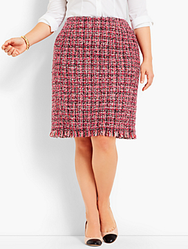 Tweed Fringe-Hem A-Line Skirt