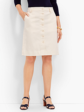 Anchor Button A-Line Skirt - Colored Denim