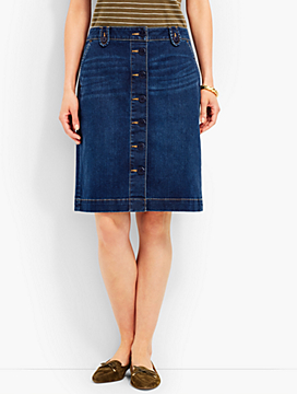 Anchor Button Denim A-Line Skirt - Loire Wash