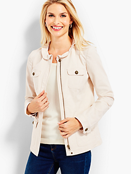 Casual Canvas Twill Ruffle Military Jacket
