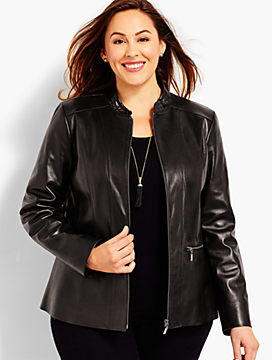 Leather Peplum Zip Jacket