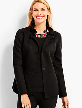 Ruffle-Neck Double-Face Jacket