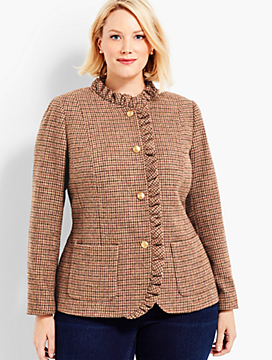 Autumn Checks Ruffle Shetland Jacket