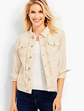Ruffled Denim Jacket-Natural