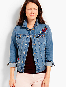 Flower-Embroidered Denim Jacket