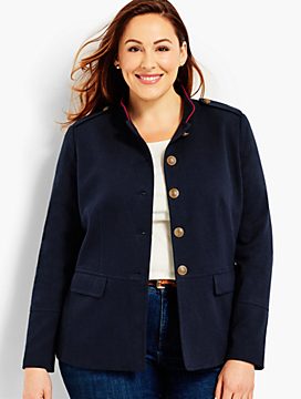 Womans Exclusive Ponte Military Jacket with Tipping
