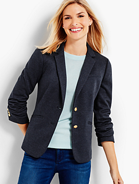Ponte Knit Blazer - Indigo Blue Heathered