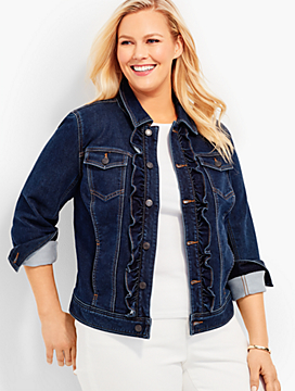 Womans Exclusive Knit Ruffle Denim Jacket