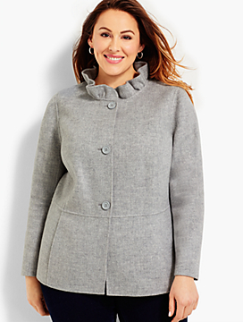 Womans Exclusive Ruffle-Neck Double-Face Jacket