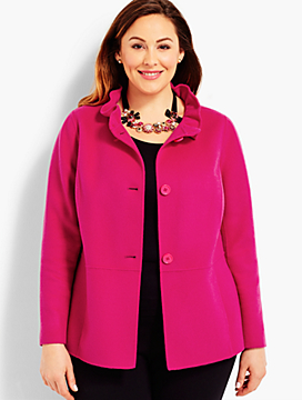 Womans Exclusive Ruffle-Neck Double-Face Jacket