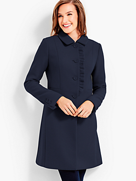 Ruffle Melton Coat