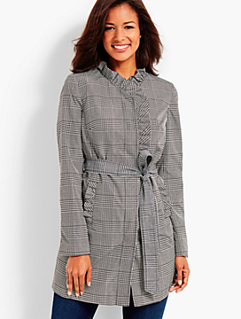 Glen Plaid Ruffle Trench Coat