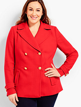 Plus Size Exclusive Double-Breasted Peacoat