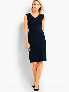 Seasonless Wool Ruffle Sleeveless Sheath Dress