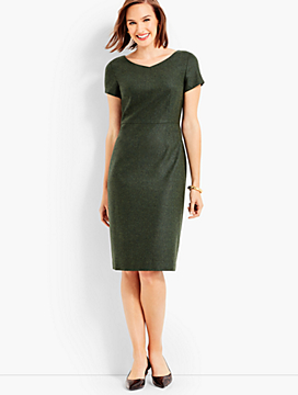 Luxe Wool Cashmere Flannel Cap-Sleeve Dress