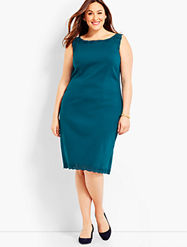 Scallop-Embroidered Ponte Sheath Dress