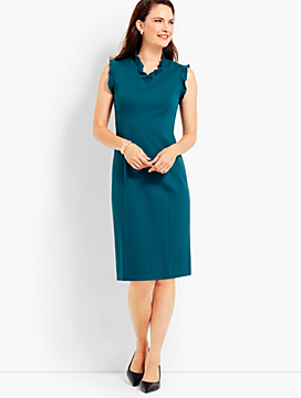 Ruffled-V-Neck Ponte Sheath Dress