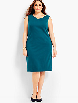 Scalloped-V-Neck Ponte Sheath Dress