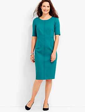 Shoulder-Button Ponte Sheath Dress