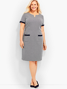 Fringe-Trimmed Ponte Sheath Dress - Houndstooth