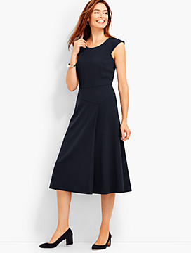 Moss Crepe Fit-And-Flare Midi Dress