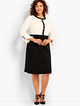Flounce Sleeve Ponte Dress - Colorblocked