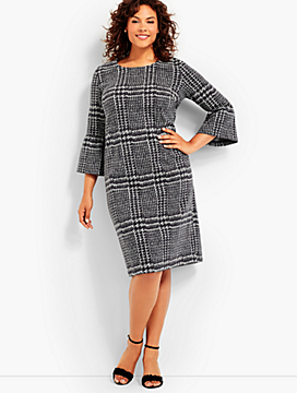 Bell Sleeve Gala Green Plaid Sheath Dress