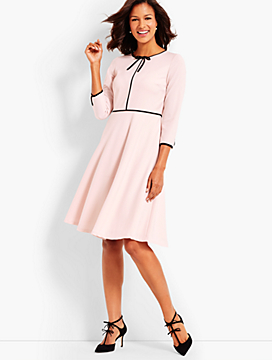 Three-Quarter-Sleeve Tailored Crepe Color Block Dress
