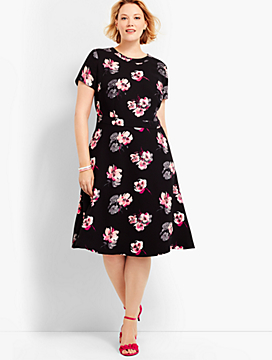 Fit & Flare Shadow Floral Dress