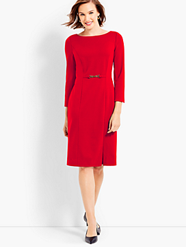 Refined Ponte Gold-Buckle Sheath Dress