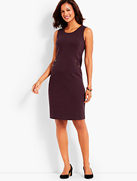 Houndstooth Button-Pocket Ponte Dress