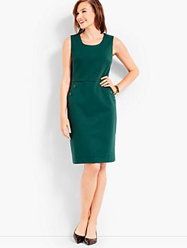 Button-Pocket Ponte Dress