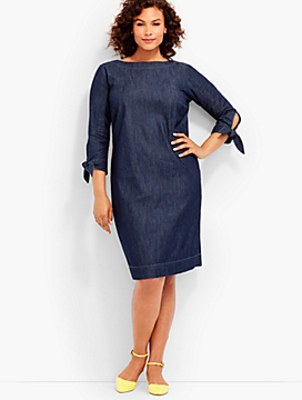 Tie-Sleeve Sheath Dress-Denim