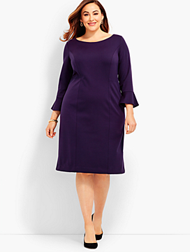 Flounce-Sleeve Ponte Sheath Dress