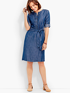 Ruffled Shirtdress - Rhone Wash