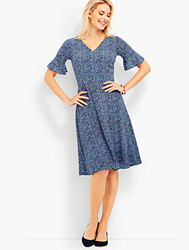 Petal Power Flounce-Sleeve Fit-And-Flare Dress