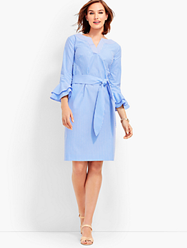 Flounce-Sleeve Stripe Dress