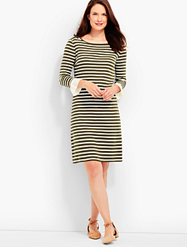 Ruffle-Sleeve Dress - Stripes