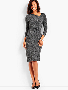 Bella Space-Dyed Side-Ruched Sheath Dress