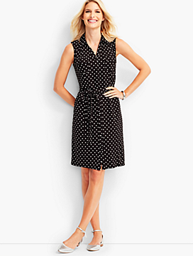Jersey Dotted Sleeveless Shirtdress