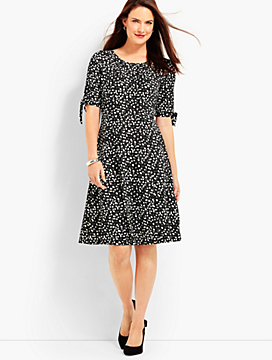 Tie-Sleeve Polka-Dot Dress
