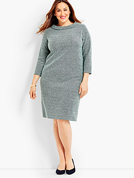Audrey Tricolor Boucle Shift Dress