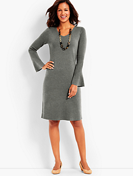 Flounce-Sleeve Sweater Dress