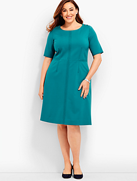 Womans Exclusive Shoulder-Button Ponte Dress