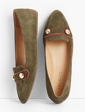 Francesca Button Suede Driving Flats