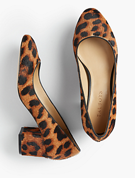 Isa Block-Heel Pumps - Leopard Haircalf